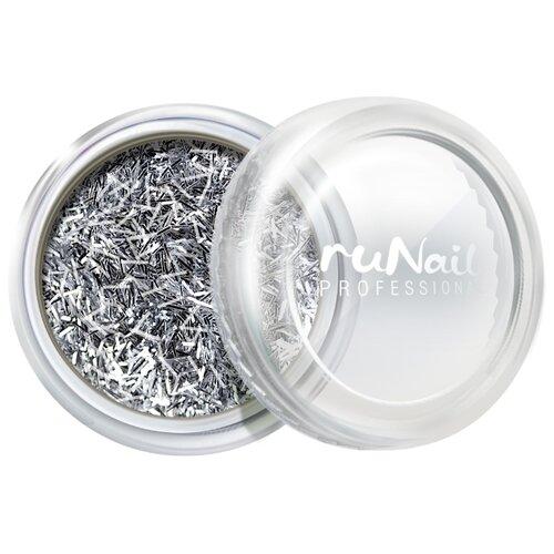 Блестки Runail стружка серебряный