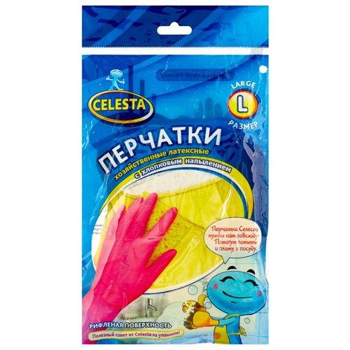Перчатки Celesta хозяйственные с хлопковым напылением, 1 пара, размер L, цвет желтый перчатки хозяйственные доминго с хлопковым напылением цвет зеленый размер m