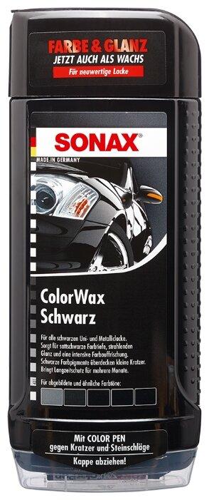 Воск для автомобиля SONAX цветной полироль с воском + карандаш (черный)