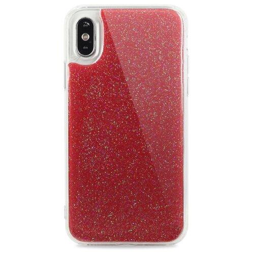 Противоударный силиконовый чехол для ( ) iPhone X / XS Гель с блестками / (Красный)