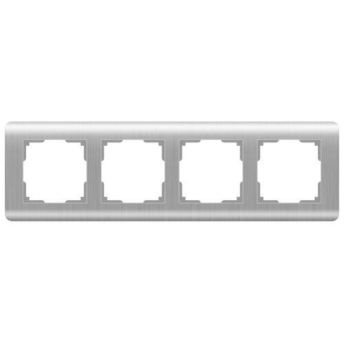 цена Рамка 4п Werkel WL12-Frame-04, серебристый онлайн в 2017 году