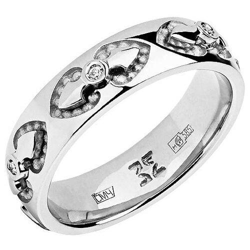 Эстет Кольцо с 6 бриллиантами из белого золота 01О620329, размер 17