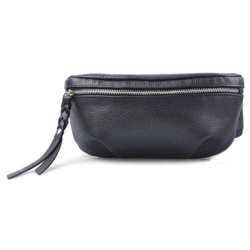 Сумка поясная Afina, натуральная кожа, черный сумка поясная dimanche натуральная кожа металлик