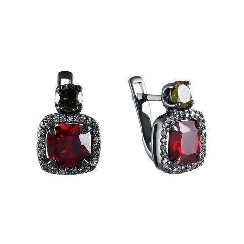JV Серьги с стеклом и фианитами из серебра SE2617-E-SR-US-001-BLK jv кольцо с стеклом и фианитами из серебра se2617 r ko us 001 blk размер 18