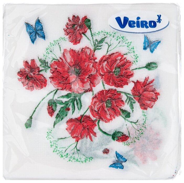 """Салфетки бумажные Veiro 1 слойн., 24*24см, белые, с рисунком """"Котик"""", 50шт."""