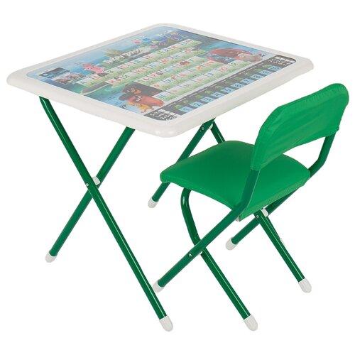 Купить Комплект ДЭМИ стол + стул Angry birds (к3-06) 63x54 см белый/зеленый, Парты и столы
