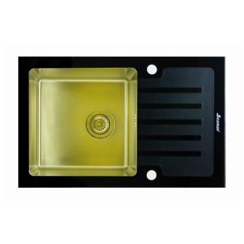 цена на Врезная кухонная мойка 78 см Seaman ECO Glass SMG-780B PVD SMG-780B-Gold.B gold
