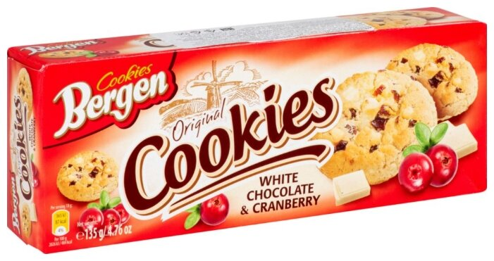 Печенье Bergen Original cookies White chocolate & Cranberry 135 г