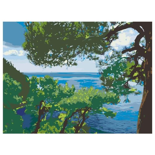 Сосны на берегу моря Раскраска картина по номерам на холсте Z-Z101139 30х40