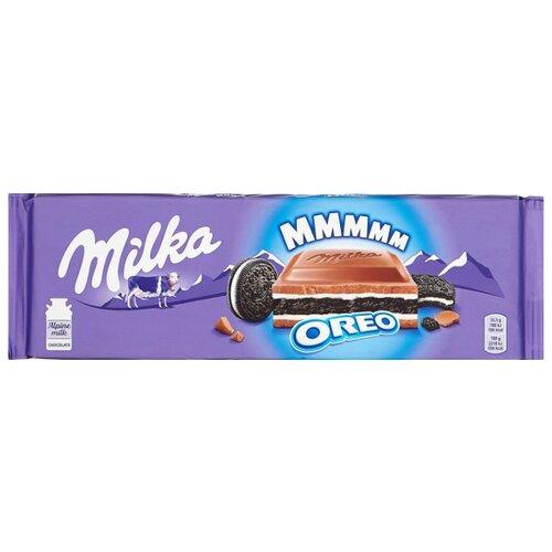 Шоколад Milka молочный с печеньем Oreo и молочной начинкой, 300 г