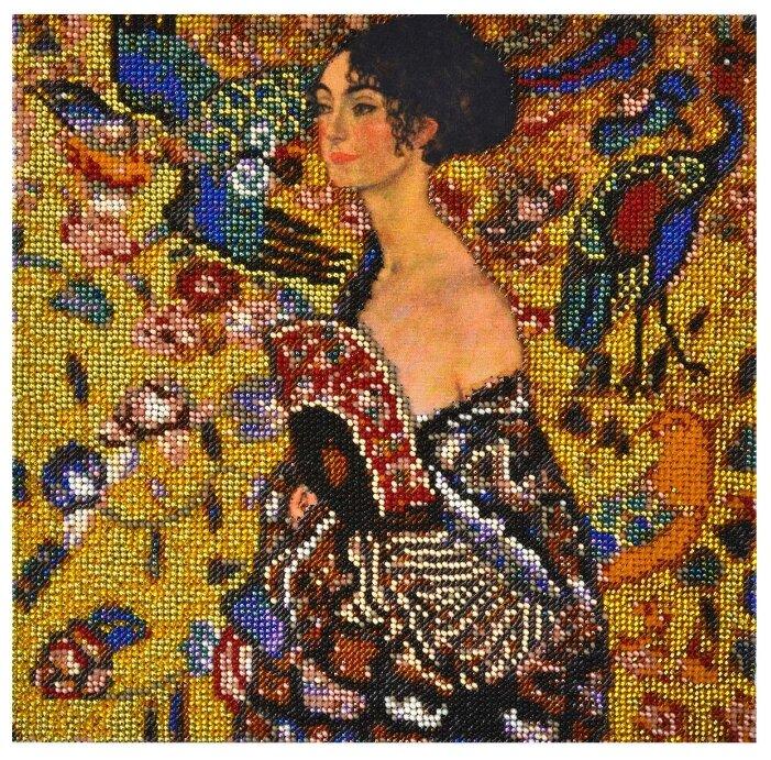 Созвездие Набор для вышивания бисером по мотивам картины Густава Климта Дама с веером 25 х 25 см (Р-104)