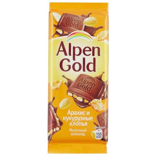 Шоколад Alpen Gold молочный с арахисом и кукурузными хлопьями, 90 г