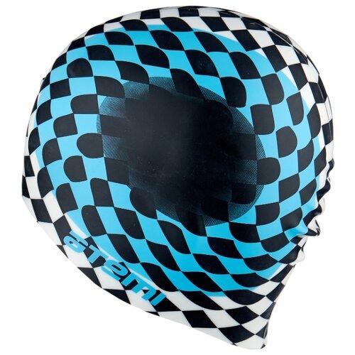 Шапочка для плавания ATEMI PSC421 черно-белый 56-65 см шапочка для плавания nabaiji шапочка для плавания тканевая с принтом размер l черно–зеленая