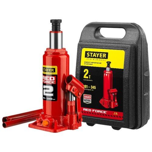 Домкрат бутылочный гидравлический STAYER Red Force 43160-2-K_z01 (2 т) красный домкрат гидравлический бутылочный stayer 2т в кейсе red force 43160 2 k z01