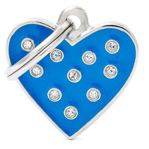 Адресник на ошейник My Family Colors Chic Сердце голубой