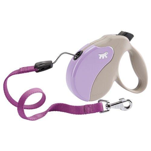 Поводок-рулетка для собак Ferplast Amigo cord M бежевый/фиолетовый 5 м поводок рулетка для собак ferplast amigo tape s серый 5 м