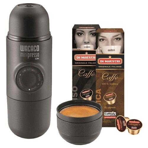 Кофеварка Wacaco Minipresso CA в комплекте с 20 капсулами черный