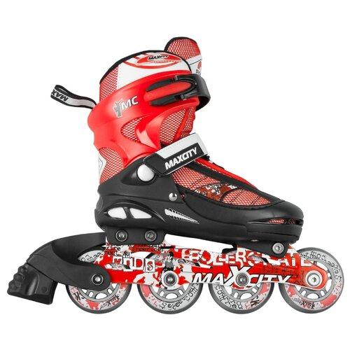 коньки ледовые для мальчика maxcity snipe boy раздвижные цвет черный серый красный размер 29 32 Раздвижные роликовые коньки MaxCity Symbol р. 32 – 35