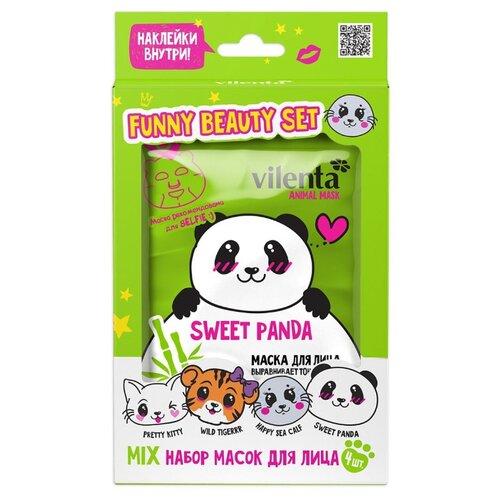 косметика для мамы vilenta подарочный набор beauty box forever 8 march VILENTA Подарочный набор тканевых масок для лица ANIMAL MASKS FUNNY BEAUTY SET SWEET PANDA (mix), 4 маски