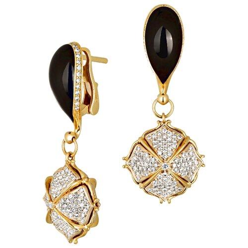 Эстет Серьги Цветы с 462 бриллиантами, эмалью из жёлтого золота 750 пробы 01С644613ЭL фото