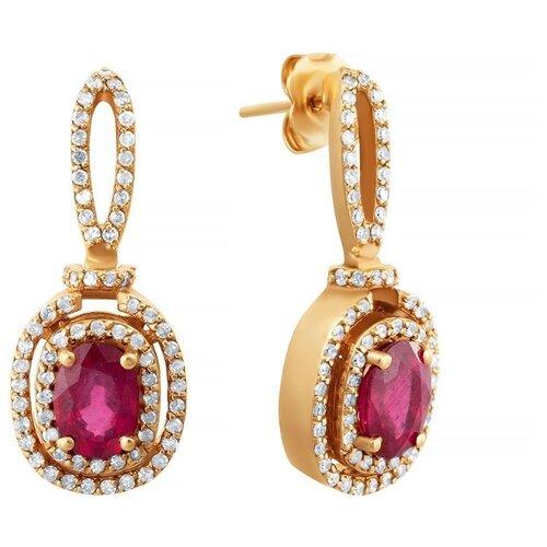 JV Серьги из розового золота 585 пробы с рубинами и бриллиантами EZ0J594DT6-SR-RU-PINK