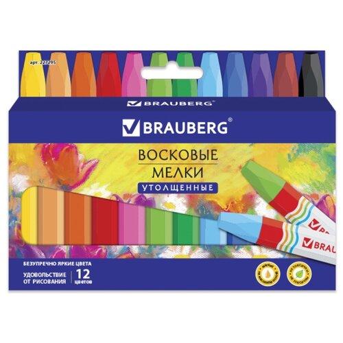Купить BRAUBERG Восковые мелки утолщенные Академия на масляной основе 12 цветов (227295), Пастель и мелки