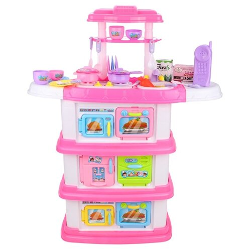 Купить Кухня Shantou Gepai 666-173A розовый/белый, Детские кухни и бытовая техника
