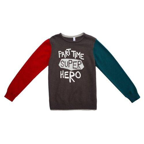 Купить Джемпер playToday размер 116, темно-серый/красный/зеленый, Свитеры и кардиганы