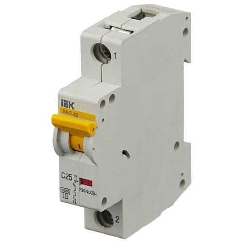Автоматический выключатель IEK ВА 47-60 1P (C) 6kA 25 А iek mva41 2 006 c авт выкл ва 47 60 2р 6а 6 ка х ка с иэк
