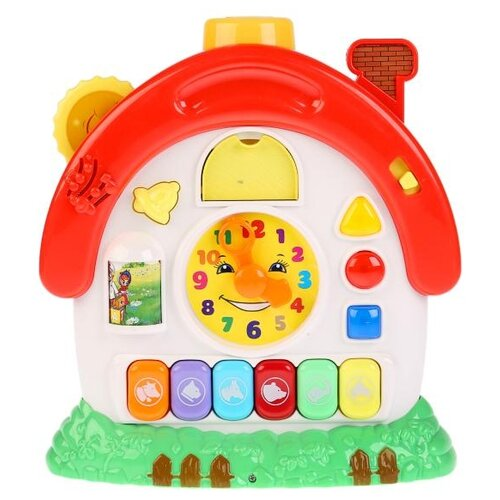 Развивающая игрушка Умка Домик-будильник белый/красный/зеленый игровые центры умка развивающий домик будильник