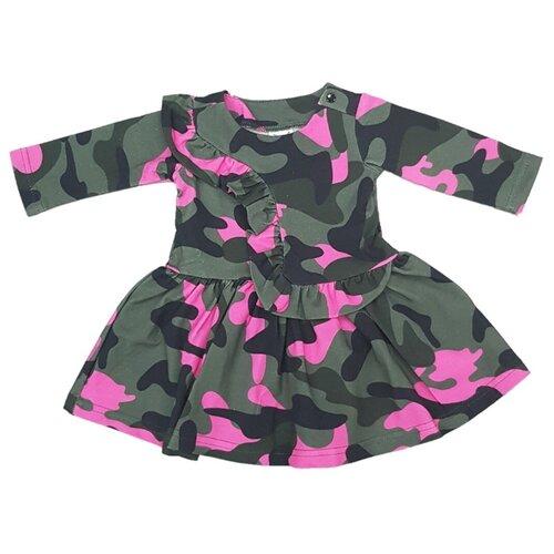 Платье ЁМАЁ размер 68, милитари/фуксия