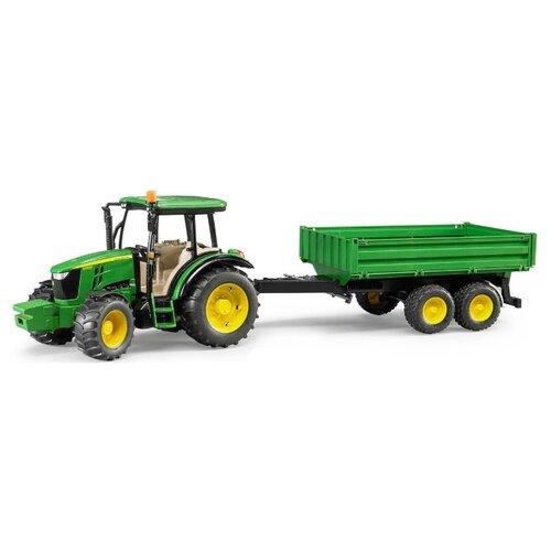 Трактор Bruder John Deere 5115M с прицепом (02-108) 1:16 26 см зеленый трактор экскаватор falk педальный с прицепом зеленый 225 см