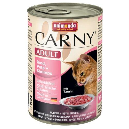 Корм для кошек Animonda Carny беззерновой, с говядиной, с индейкой, с креветками 400 г (паштет)Корма для кошек<br>