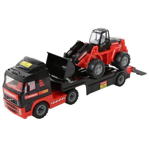 Набор техники Полесье Трейлер и трактор-погрузчик Mammoet Volvo 204-01 (56733) красный/черный машины полесье трактор погрузчик