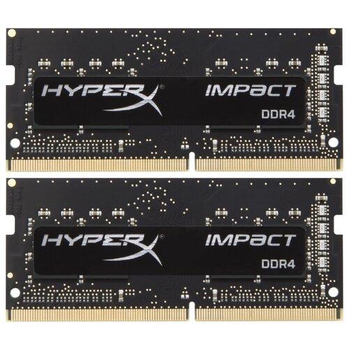 Купить Оперативная память HyperX Impact DDR4 2400 (PC 19200) SODIMM 260 pin, 8 ГБ 2 шт. 1.2 В, CL 14, HX424S14IB2K2/16