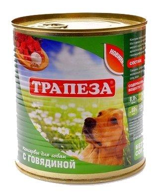 Корм для собак Трапеза Консервы для собак с говядиной (0.75 кг) 9 шт.