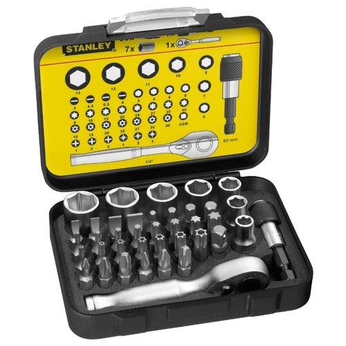 Набор бит и торцевых головок STANLEY (39 предм.) 1-13-906 черный/желтый набор бит и сверл stanley sta7184 xj 70шт