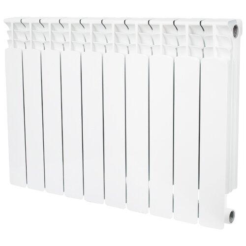 Радиатор секционный биметаллический STOUT Space 500 x9 9 секций, подключение универсальное боковое RAL 9016 секционный радиатор stout space 500 биметаллический srb 0310 050009 белый 9 секций