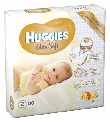 Huggies подгузники Elite Soft 2 (4-7 кг) 80 шт.