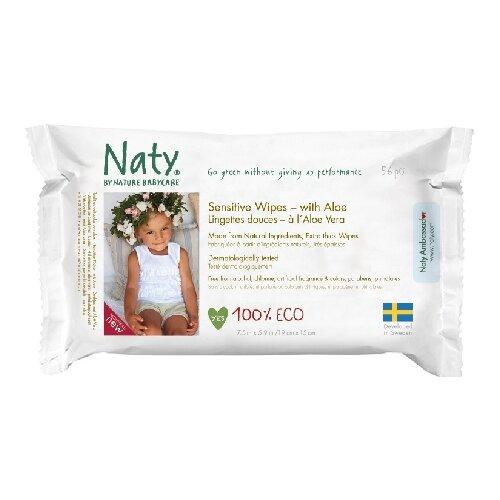Влажные салфетки Naty Sensitive с алоэ, 56 шт.