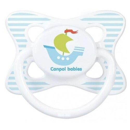Купить Пустышка силиконовая анатомическая Canpol Babies Summertime 0-6 м (1 шт) белый/кораблик, Пустышки и аксессуары