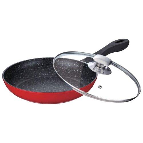 Сковорода Peterhof PH-15481-24 24 см с крышкой, красный сковорода d 24 см kukmara кофейный мрамор смки240а