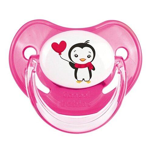 Купить Пустышка силиконовая ортодонтическая Canpol Babies Penguin 6-18 м (1 шт) розовый, Пустышки и аксессуары