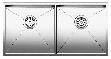 Интегрированная кухонная мойка Blanco Zerox 400/400-IF 86.5х44см нержавеющая сталь