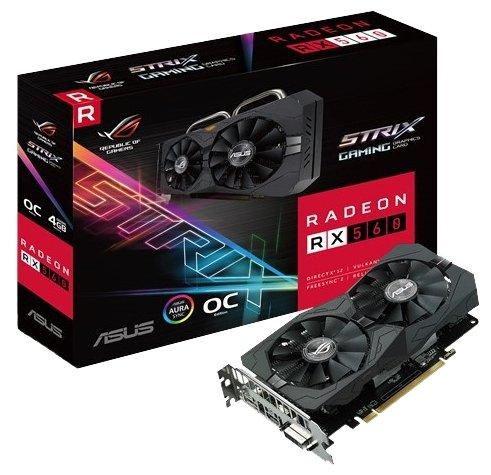 ASUS Radeon RX 560 1326Mhz PCI-E 3.0 4096Mb 7000Mhz 128 bit DVI HDMI HDCP Strix Gaming OC