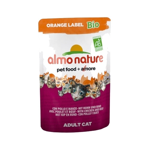 Корм для кошек Almo Nature Orange Label Bio Adult Cat Chicken and Beef (0.07 кг) 1 шт.