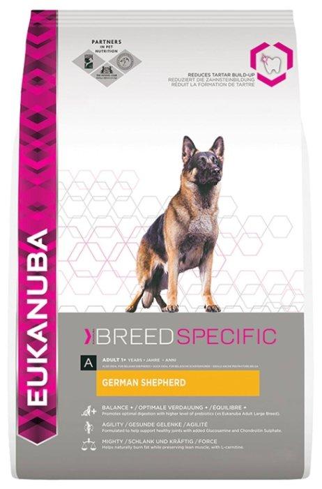 Корм для собак Eukanuba Breed Specific Немецкая овчарка для здоровья кожи и шерсти, курица 12 кг