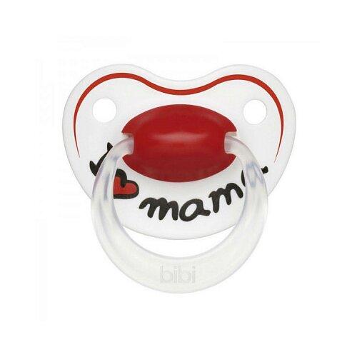 Купить Пустышка силиконовая ортодонтическая Bibi Happiness Mama 6-16 м (1 шт) белый/красный, Пустышки и аксессуары