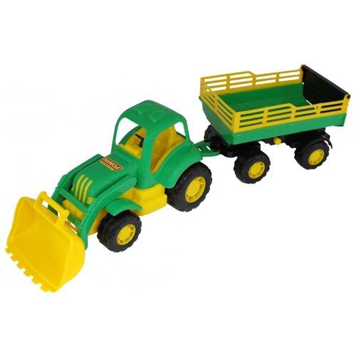 Фото - Трактор Полесье Силач №2 с прицепом и ковшом (45034) 66 см трактор полесье алтай с прицепом 2 и ковшом 35363 66 см