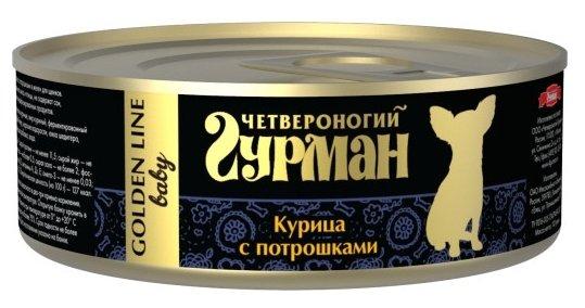 Корм для щенков Четвероногий Гурман Golden Line курица, потроха 24шт. х 100г